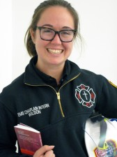 M. Div. Senior Stefanie Wilson reads ethics enroute to ministry with the NYFD