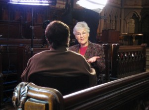 Prof. Deirdre Good being interviewed in the Chapel of the Good Shepherd.
