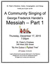 Beyond the Close – Join Our Neighbors at St. Peter's for a Sing Along Messiah