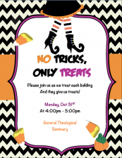 Trick or Treating on the Close on Halloween